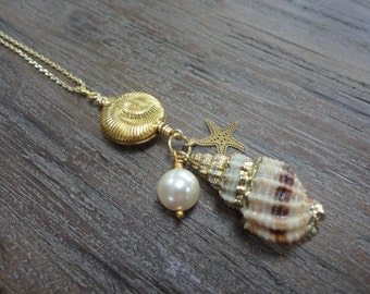 Spiral Shell Pendant Gold Necklace/Crystal Pearl/Gold Starfish/Spiral Gold Shell/Ocean Theme