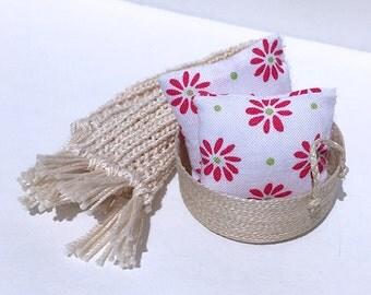 1 1/2 Inch Beautiful Handmade Miniature Dollhouse Throw Pillow Set - Dark Pink Flower on White