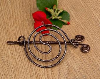 Antique copper Hair bun holder ,Hair bun slide,hair bun barrette,Spiral Hair barrette,Oxidized copper Hair Slide ,Hair Jewelry