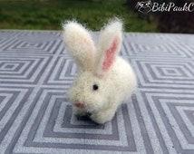 OOAK Needle felted tiny bunny rabbit white handmade doll house miniature unique gift by BibiPauk