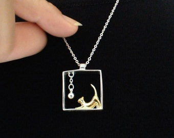 Cat with Ball Silver Pendant - Jewelry