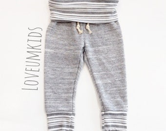 Baby/Toddler Marled Grey French Terry Fold-Over Striped Sweat Pants Leggings
