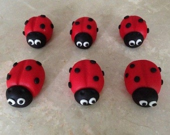 12 Edible Fondant Ladybug Cupcake Toppers