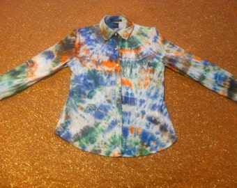 Women's Size Medium Tie Dye Button-Front Blouse