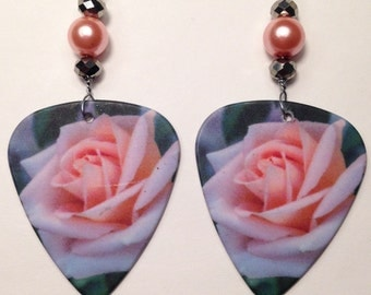 1 Pair- Rose Guitar Pick Earrings