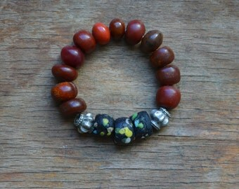 Rare Hebron trade bead bracelet with bakelite, copal amber and Turkomen silver, collectors bracelet