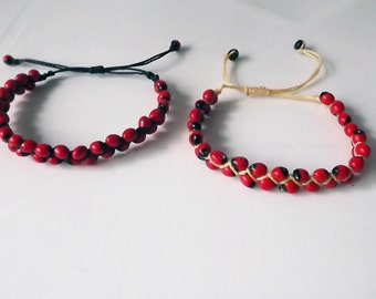 Two pcs Amazonian Two Lines Bracelets. Huayruro Seeds. Handmade in Peru