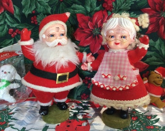 Vintage Flocked Mr. And Mrs. Santa Claus Waving on Bases