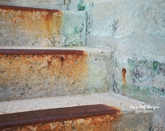 Blue Rusty Staircase Original Photography