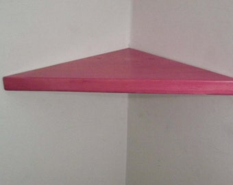 22 Inch Floating Corner Shelf with Cherry Blossom Stain Handmade in the USA