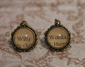 Willy Wonka Earrings ~ Charlie And The Chocolate Factory ~ Roald Dahl ~