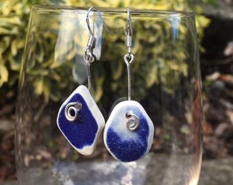 Beautiful, hand made,Scottish Sea Glass earings  E 26.8.16.3