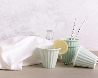 Tea Cup, Ceramic Espresso Cup, Colorful Home Décor, Ceramic Cup, Modern Design, Ceramic Tumbler Juice Glass, Mint Green Decor, Ready To Ship