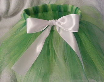 Green Fairy Infant to Adult Size Tutu - Tinkerbell Inspired Costume - St. Patrick's Day Tutu - Green and White Tutu