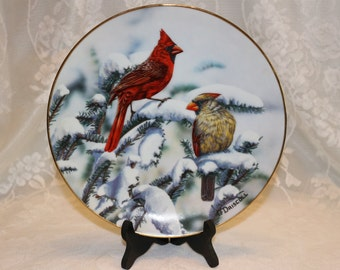 O' Driscoll Red Cardinals of Winter American Songbirds  Plate Collection Limited Edition Fourteen Firing Days Plate #  2160A 1989