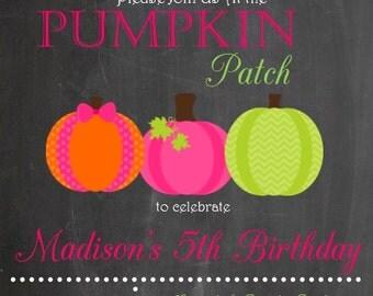 Birthday Girl Pumpkin Patch Birthday Invitation
