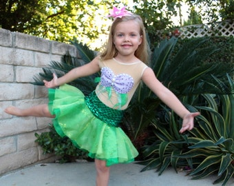 Ariel Costume Ruffle Skirt and leggings Girls Size 2T,3T,4,5,6,7,8,9,10Y