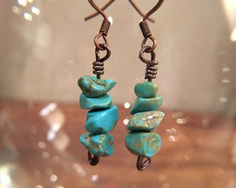Turquoise colored bead dangling earrings with bronze colored wire.