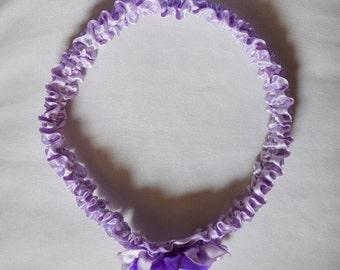 Bridal garter, atlas garter, wedding garter, lilac atlas garter, atlas flower garter, custom size garter, special day garter, garter