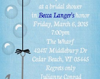 Print Your Own - Hooked Fish Hook Ring Bridal Shower Invitation *Gold or Silver*