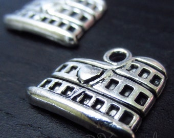 Colosseum Charm Pendants - 10/20/50 Wholesale Italy Rome Antiqued Silver Plated Findings C5499