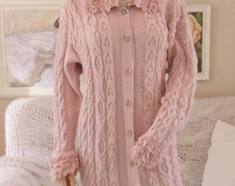 Hand knitted cardigan Hand knit sweater Pale pink sweater Cable knit cardigan Hand knitted cotton cable cardigan Pale pink cardigan  A1120