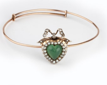 Edwardian/Victorian Chalcedony and Gold Heart Bangle