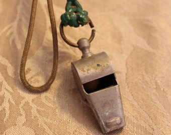 Vintage Military Whistle on cord