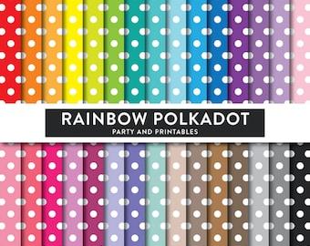 Rainbow Polkadot Digital Paper, Polkadot Digital Paper, Polkadot Scrapbook Paper, Polkadot Pattern, Polkadot Printable (DP.14)