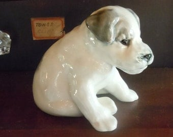 Vintage Russian Ceramic Depiction of Young Dog / Adorable Sculpture from the USSR