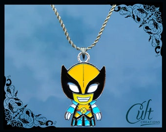 Marvel sterling silver / faux leather necklace with Wolverine charm