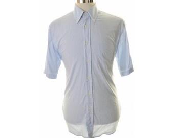 Hugo Boss Mens Shirt Size 41 16 Large White Blue Check Cotton