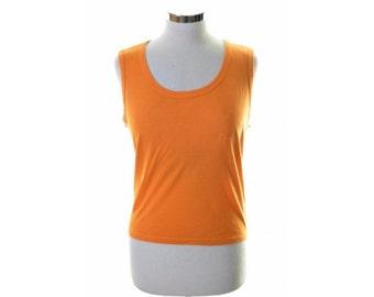 Fila Womens T-Shirt Top Sleeveless Size 10 Small Orange Cotton