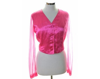 Iceberg Womens Top Blouse Size 44 16 Large Pink Linen Viscose Nylon