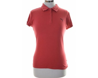 Puma Womens Polo Shirt Top Size 12 Medium Red