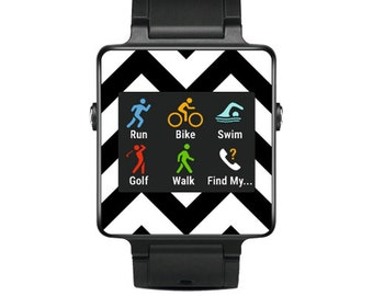 Skin Decal Wrap for Garmin Vivoactive Forerunner, Vivoactive Forerunner Hr Watch cover sticker Black Chevron