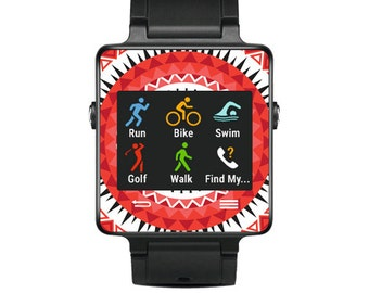 Skin Decal Wrap for Garmin Vivoactive Forerunner, Vivoactive Forerunner Hr Watch cover sticker Red Aztec