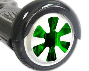 Skin Decal Wrap for Hoverboard Balance Board Scooter Wheels Green Flames
