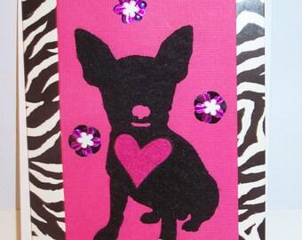 Animal Print Dog Heart Card
