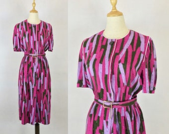 30% Off Summer Sale / Japanese Vintage Geometric Dress with matching belt / Party Dress / Pink Purple Dress / Made in Japan / Size Medium