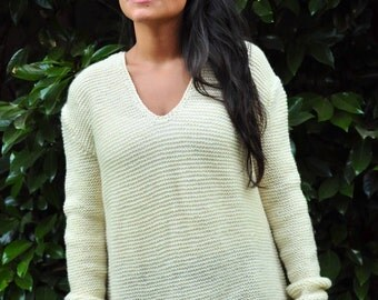 Merino Wool sweater, Women Sweater, Knitted Sweater, pure merino, size M