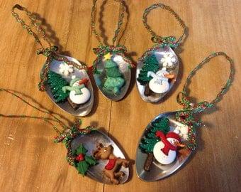 Lot of 5 Spoon Ornaments
