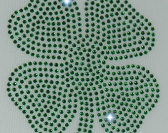 Rhinestone Shamrock iron on transfer