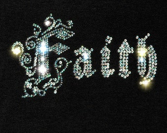 Rhinestone Faith Inspirational Iron on Transfer