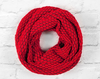 Red Infinity Scarf, Red Oversized Scarf, Red Wide Scarf, Red Cotton Scarf, Red Circle Scarf, Grey Infinity Scarf, Red Textured Scarf