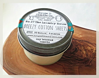 soy wax candle No.27 The Laundry House | Breezy Cotton Sheets soy candle infused with beeswax + essential oils, organic candle, hand poured