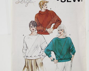 Loose Fitting Pullover Sewing Pattern, Uncut Sewing Pattern, Kwik Sew 1460, Sizes XS-L