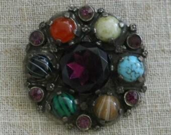 Vintage multi gemstone pendant - brooch