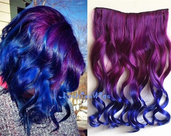 Purple to Blueviolet Two Colors Ombre Hair Extension, Synthetic Hair Extensions UF350