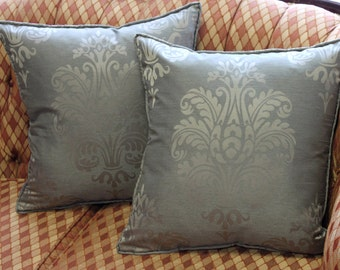 "Custom Made Decorative Throw Pillow ""Troika Damask"", 12 Sizes Available, 3 Fabric Colors, Throw Zipper Pillow"